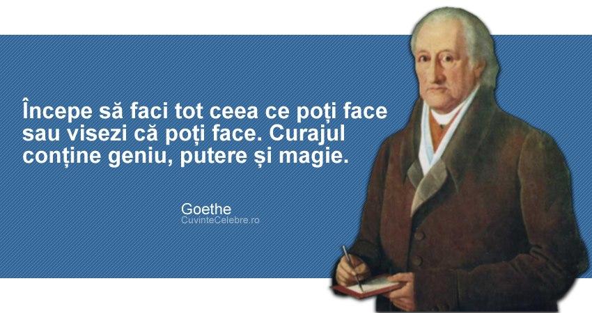 citate despre curaj Ai curajul să faci tot ce vrei, citat de Goethe citate despre curaj