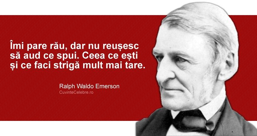 """""""Îmi pare rău, dar nu reușesc să aud ce spui. Ceea ce ești și ce faci strigă mult mai tare."""" Ralph Waldo Emerson"""