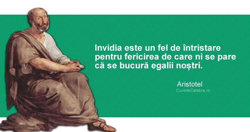 """""""Invidia este un fel de întristare pentru fericirea de care ni se pare că se bucură egalii noștri."""" Aristotel"""