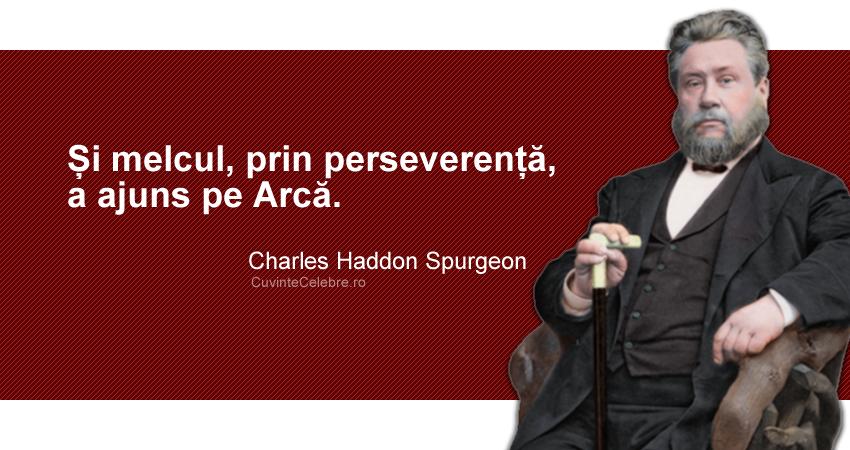 """""""Și melcul, prin perseverență, a ajuns pe Arcă."""" Charles Haddon Spurgeon"""