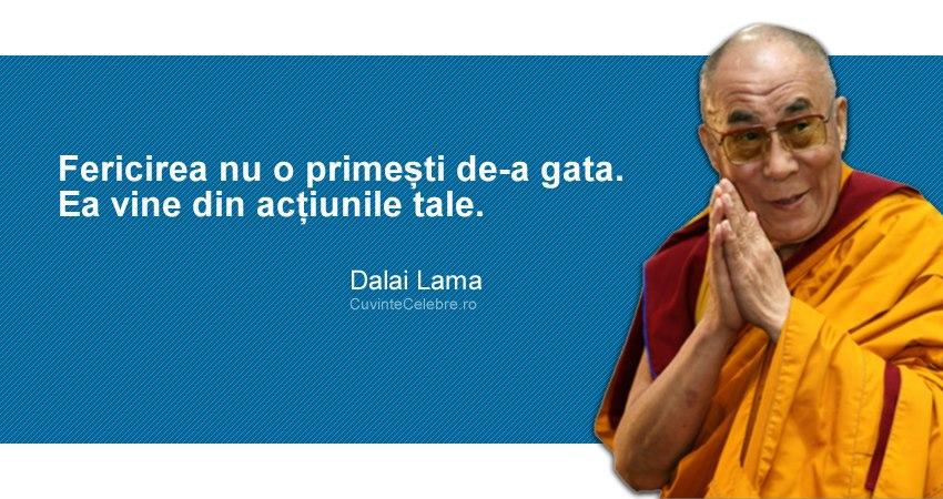 """""""Fericirea nu o primești de-a gata. Ea vine din acțiunile tale."""" Dalai Lama"""