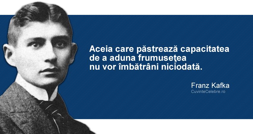 """""""Aceia care păstrează capacitatea de a aduna frumuseţea nu vor îmbătrâni niciodată."""" Franz Kafka"""
