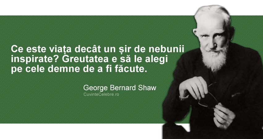 """""""Ce este viața decât un șir de nebunii inspirate? Greutatea e să le alegi pe cele demne de a fi făcute."""" George Bernard Shaw"""
