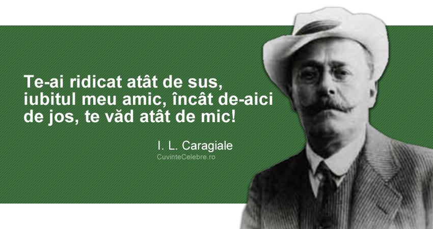 """""""Te-ai ridicat atât de sus, iubitul meu amic, încât de-aici de jos, te văd atât de mic!"""" I. L. Caragiale"""