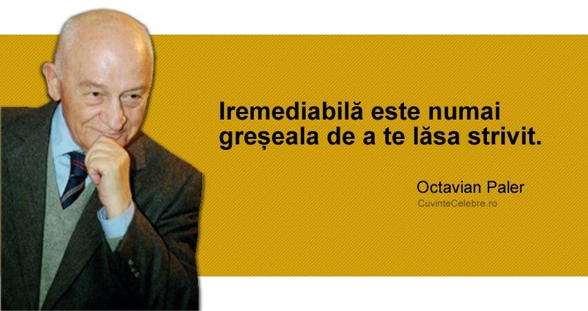 """""""Iremediabilă este numai greșeala de a te lăsa strivit."""" Octavian Paler"""