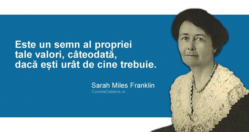 """""""Este un semn al propriei tale valori, câteodată, dacă ești urât de cine trebuie."""" Sarah Miles Franklin"""