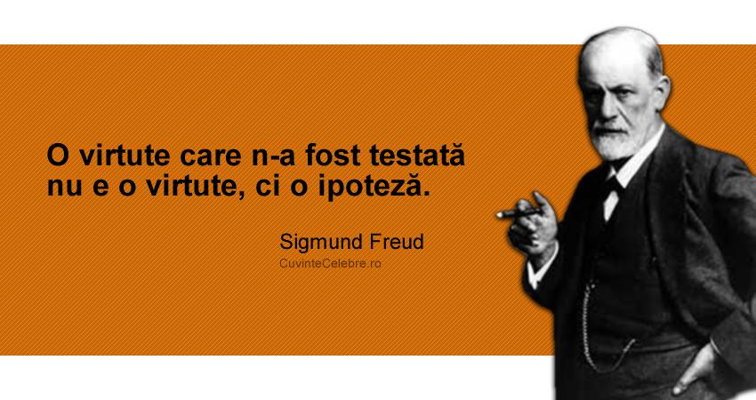 """O virtute care n-a fost testată nu e o virtute, ci o ipoteză."" Sigmund Freud"