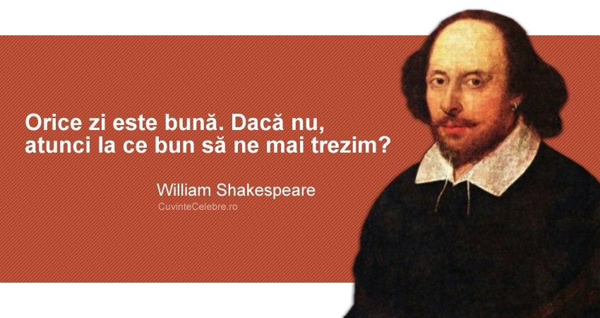 """""""Orice zi este bună. Dacă nu, atunci la ce bun să ne mai trezim?"""" William Shakespeare"""