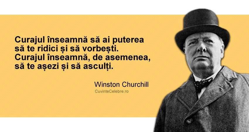 """""""Curajul înseamnă să ai puterea să te ridici și să vorbești. Curajul înseamnă, de asemenea, să te așezi și să asculți."""" Winston Churchill"""