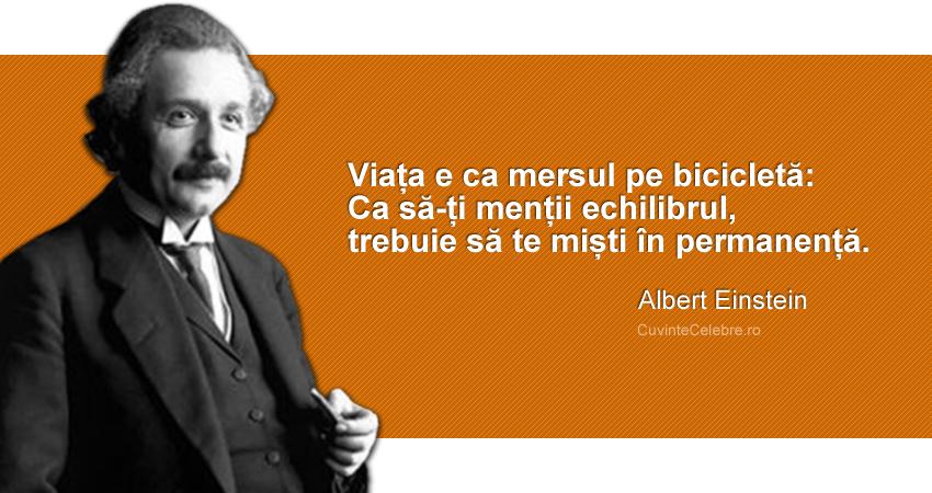 """""""Viața e ca mersul pe bicicletă: Ca să-ți menții echilibrul, trebuie să te miști în permanență"""". Albert Einstein"""