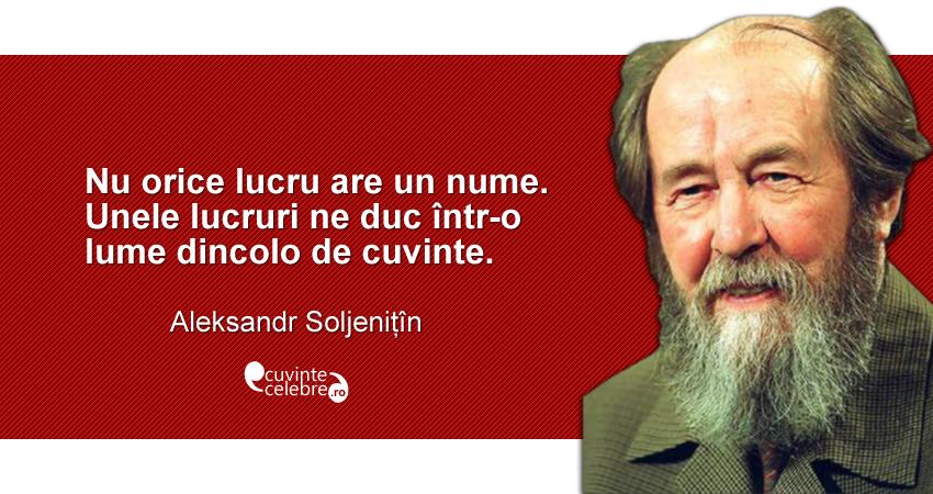 """""""Nu orice lucru are un nume. Unele lucruri ne duc într-o lume dincolo de cuvinte."""" Aleksandr Soljenițîn"""