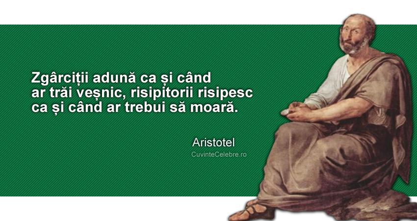 """""""Zgârciții adună ca și când ar trăi veșnic, risipitorii risipesc ca și când ar trebui să moară."""" Aristotel"""