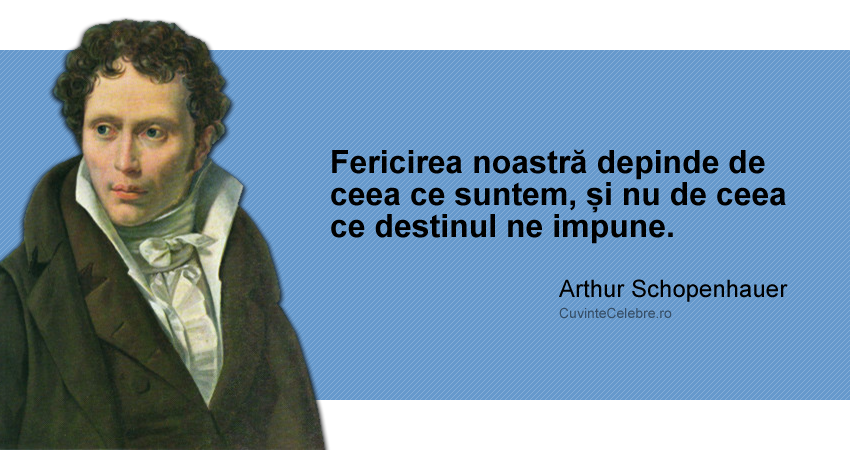 """""""Fericirea noastră depinde de ceea ce suntem, și nu de ceea ce destinul ne impune."""" Arthur Schopenhauer"""