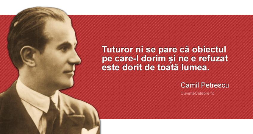 """""""Tuturor ni se pare că obiectul pe care-l dorim și ne e refuzat este dorit de toată lumea."""" Camil Petrescu"""