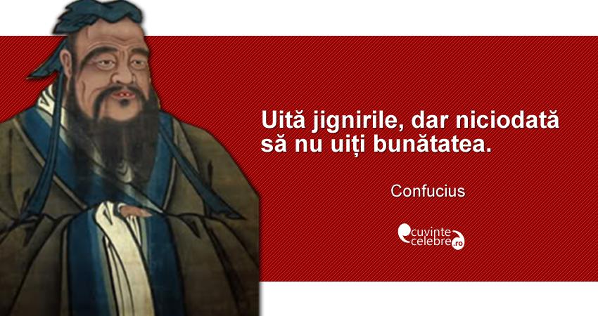 """""""Uită jignirile, dar niciodată să nu uiți bunătatea."""" Confucius"""