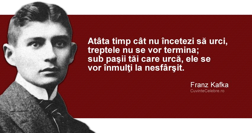 """""""Atâta timp cât nu încetezi să urci, treptele nu se vor termina. Sub paşii tăi care urcă, ele se vor înmulţi la nesfârşit."""" Franz Kafka"""