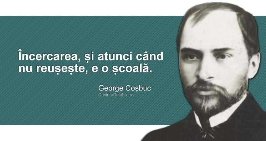 """""""Încercarea, și atunci când nu reușește, e o școală."""" George Coșbuc"""