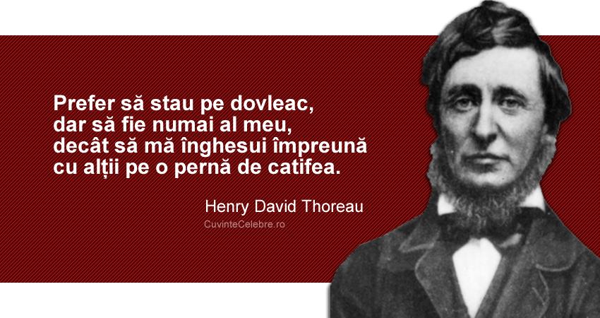 """""""Prefer să stau pe dovleac, dar să fie numai al meu, decât să mă înghesui împreună cu alții pe o pernă de catifea."""" Henry David Thoreau"""