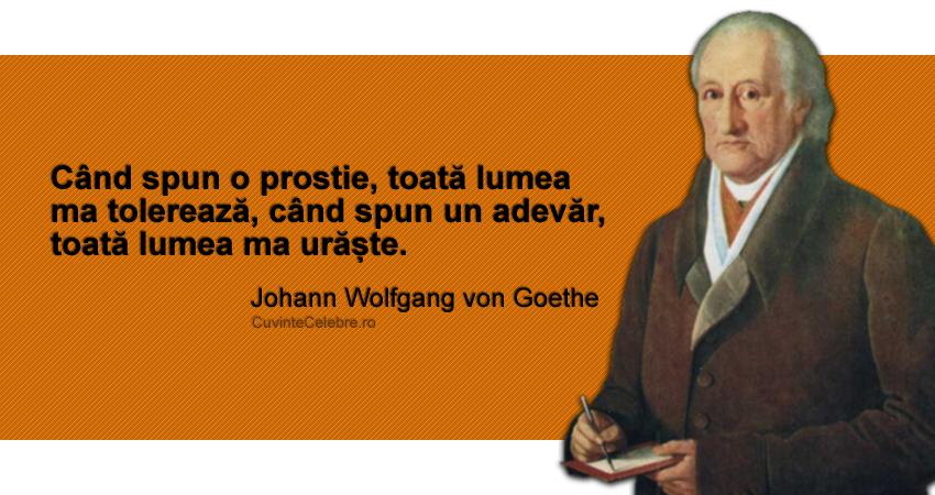 """Când spun o prostie, toată lumea ma tolerează, când spun un adevăr, toată lumea ma urăște."" Johann Wolfgang von Goethe"