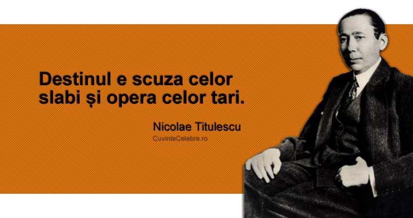 """""""Destinul e scuza celor slabi și opera celor tari."""" Nicolae Titulescu"""