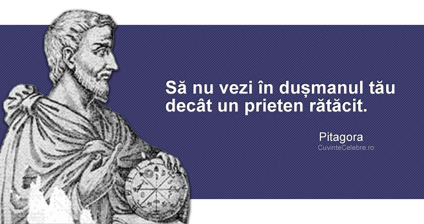 """""""Să nu vezi în dușmanul tău decât un prieten rătăcit."""" Pitagora"""