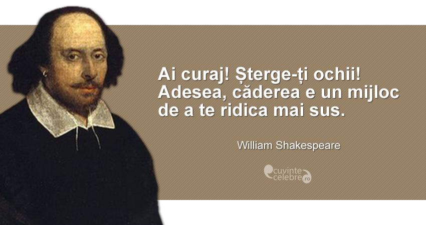 """""""Ai curaj! Șterge-ți ochii! Adesea, căderea e un mijloc de a te ridica mai sus."""" William Shakespeare"""