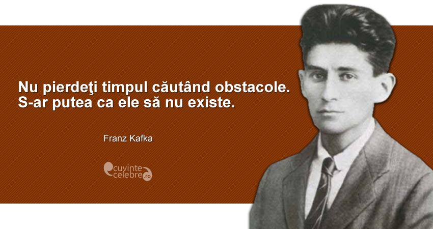 """""""Nu pierdeţi timpul căutând obstacole. S-ar putea ca ele să nu existe."""" Franz Kafka"""