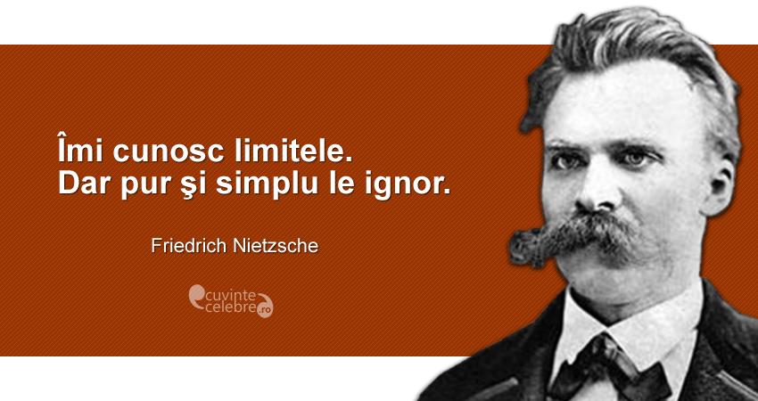 """""""Îmi cunosc limitele. Dar pur şi simplu le ignor."""" Friedrich Nietzsche"""