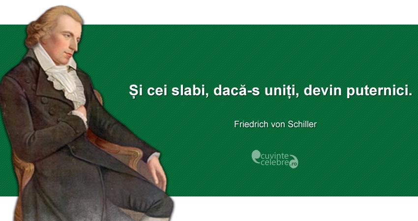 """""""Și cei slabi, dacă sunt uniți, devin puternici."""" Friedrich von Schiller"""
