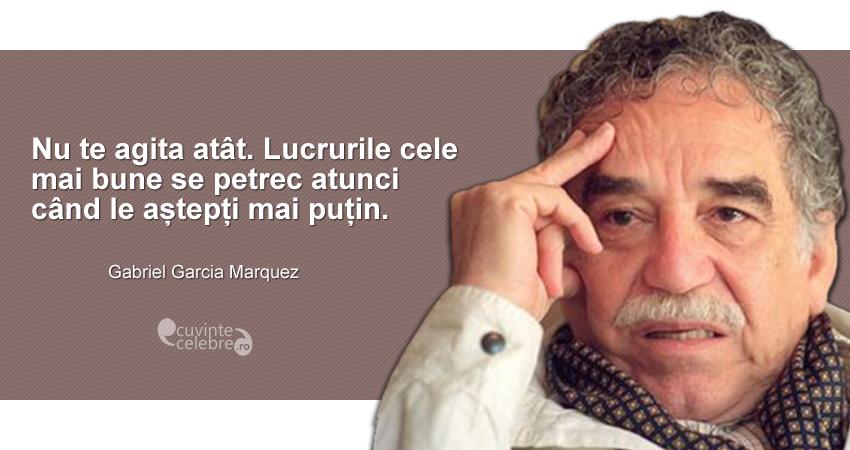 """""""Nu te agita atât. Lucrurile cele mai bune se petrec atunci când le aștepți mai puțin."""" Gabriel Garcia Marquez"""