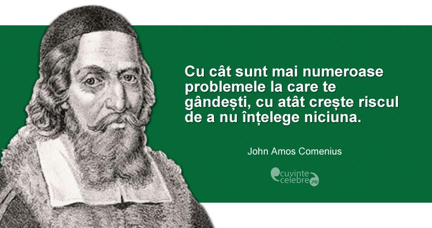 """""""Cu cât sunt mai numeroase problemele la care te gândești, cu atât crește riscul de a nu înțelege niciuna."""" John Amos Comenius"""