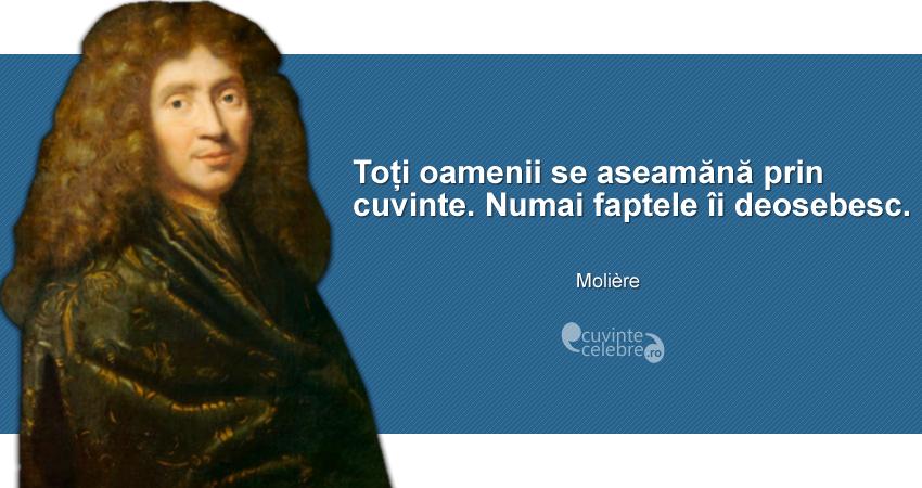 """""""Toți oamenii se aseamănă prin cuvinte. Numai faptele îi deosebesc."""" Molière"""
