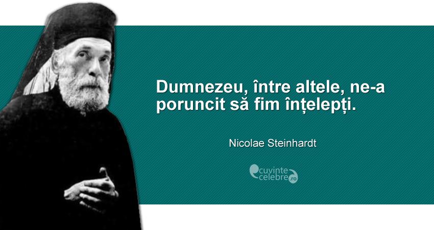 """""""Dumnezeu, între altele, ne-a poruncit să fim înțelepți."""" Nicolae Steinhardt"""
