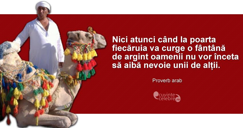 """""""Nici atunci când la poarta fiecăruia va curge o fântână de argint oamenii nu vor înceta să aibă nevoie unii de alții."""" Proverb arab"""
