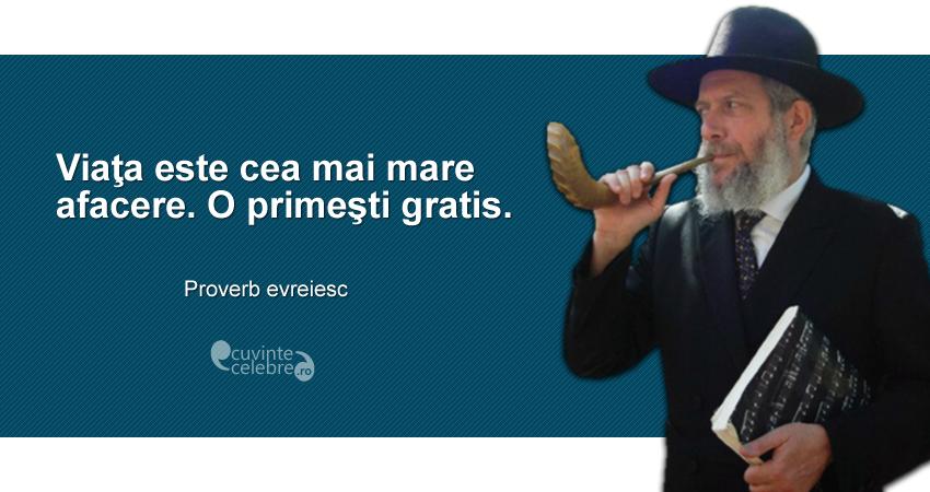 """""""Viaţa este cea mai mare afacere. O primeşti gratis."""" Proverb evreiesc"""