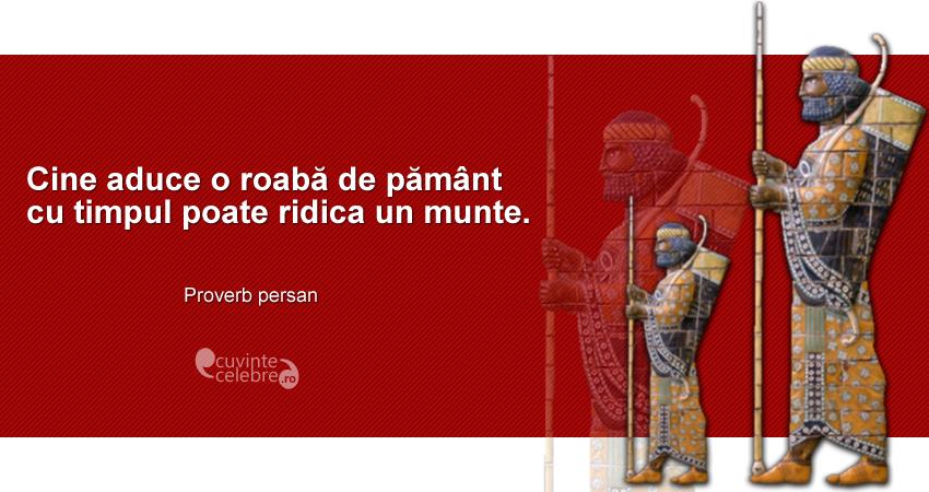 """""""Cine aduce o roabă de pământ cu timpul poate ridica un munte."""" Proverb persan"""