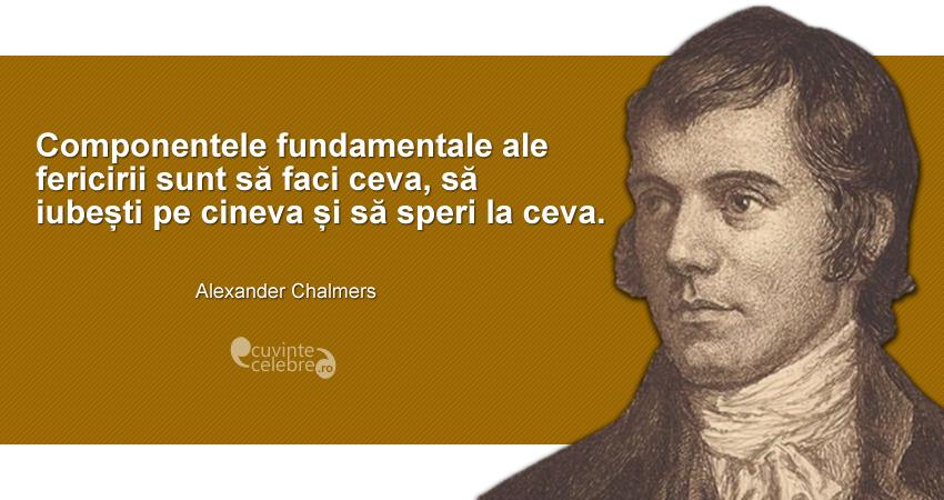 """""""Componentele fundamentale ale fericirii sunt să faci ceva, să iubești pe cineva și să speri la ceva."""" Alexander Chalmers"""