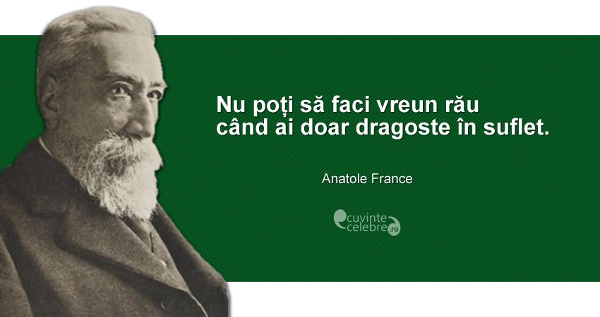 """""""Nu poți să faci vreun rău când ai doar dragoste în suflet."""" Anatole France"""