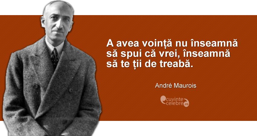 """""""A avea voință nu înseamnă să spui că vrei, înseamnă să te ții de treabă."""" André Maurois"""