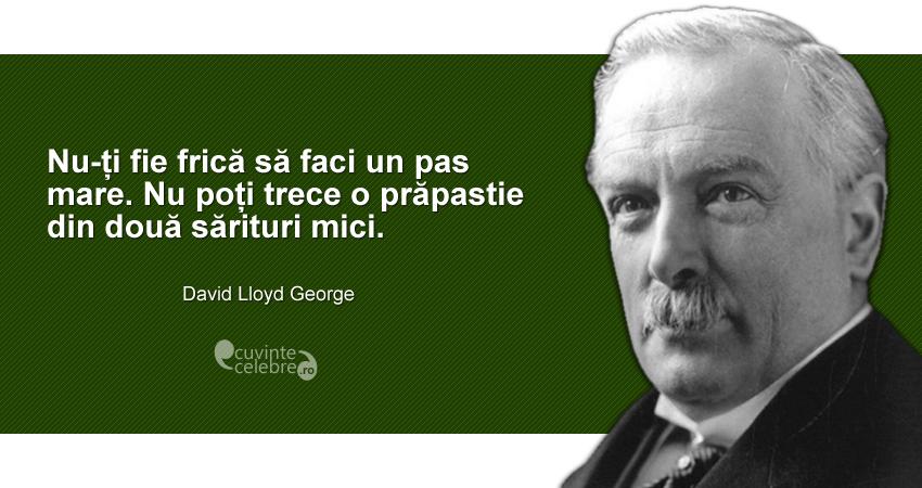 """""""Nu-ți fie frică să faci un pas mare. Nu poți trece o prăpastie din două sărituri mici."""" David Lloyd George"""