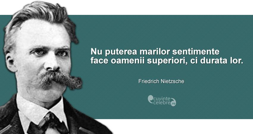 """""""Nu puterea marilor sentimente face oamenii superiori, ci durata lor."""" Friedrich Nietzsche"""