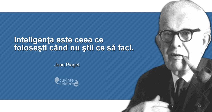 """""""Inteligenţa este ceea ce foloseşti când nu ştii ce să faci."""" Jean Piaget"""
