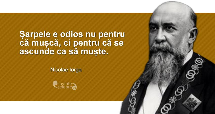 """""""Șarpele e odios nu pentru că mușcă, ci pentru că se ascunde ca să muște."""" Nicolae Iorga"""