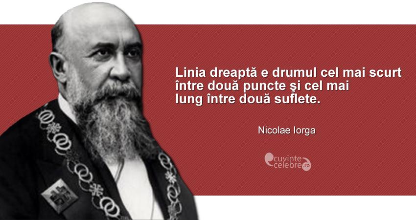 """""""Linia dreaptă e drumul cel mai scurt între două puncte şi cel mai lung între două suflete."""" Nicolae Iorga"""