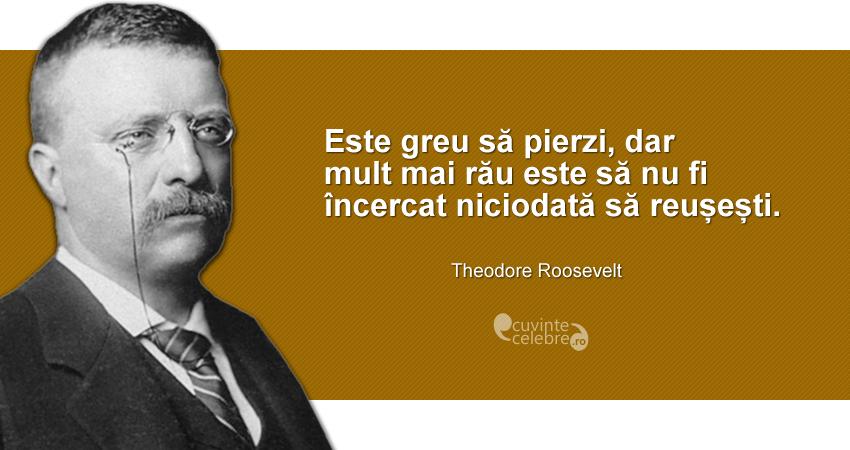"""""""Este greu să pierzi, dar mult mai rău este să nu fi încercat niciodată să reușești."""" Theodore Roosevelt"""