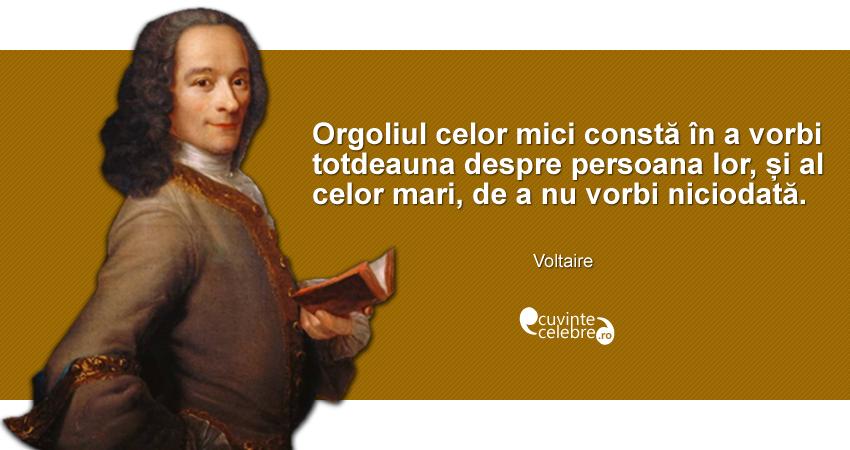 """""""Orgoliul celor mici constă în a vorbi totdeauna despre persoana lor, și al celor mari, de a nu vorbi niciodată."""" Voltaire"""