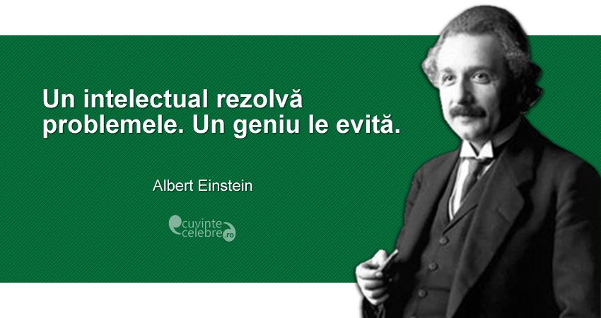 """""""Un intelectual rezolvă problemele. Un geniu le evită."""" Albert Einstein"""
