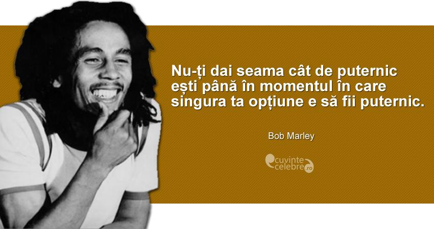 """""""Nu-ți dai seama cât de puternic ești până în momentul în care singura ta opțiune e să fii puternic."""" Bob Marley"""