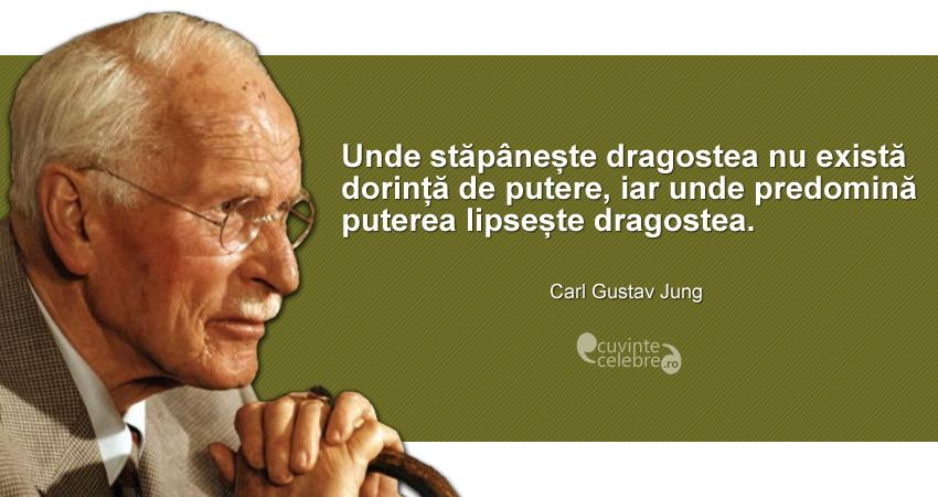 """""""Unde stăpânește dragostea nu există dorință de putere, iar unde predomină puterea lipsește dragostea."""" Carl Gustav Jung"""