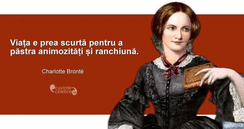 """""""Viața e prea scurtă pentru a păstra animozități și ranchiună."""" Charlotte Brontë"""